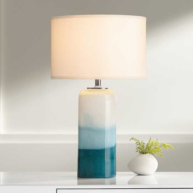 Roxanne Blue Art Glass Table Lamp with LED Night Light - Lamps Plus