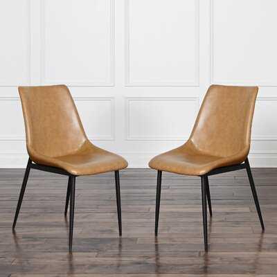 Garuda Faux Leather Dining Chair (Set Of 2), Camel - Wayfair
