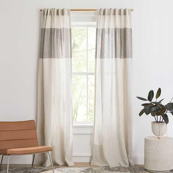 "European Flax Linen Contrast Stripe Curtain, Natural/Java, 48""x84"" - West Elm"