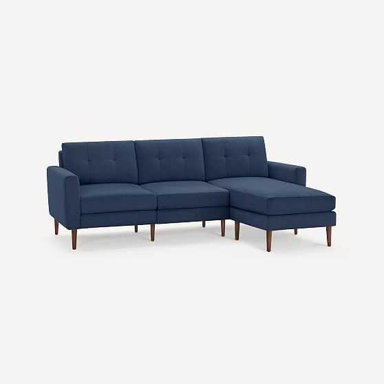 Nomad Block Fabric Sofa with Chaise, Olefin, Navy Blue, Walnut Wood - West Elm