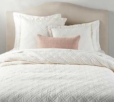 Washed Velvet Silk Blend Quilt, King/Cal King, Classic Ivory - Pottery Barn