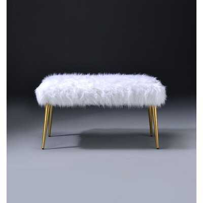 Modern Mid-century End Of Bed Bench In White Faux Fur & Gold - Wayfair