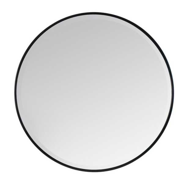 "Madeleine Home Asti Black Scandinavian Handcrafted Wall Mirror - Round (36"") - Home Depot"