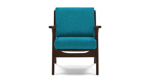 Blue Soto Mid Century Modern Chair - Vibe Aquatic - Walnut - Joybird