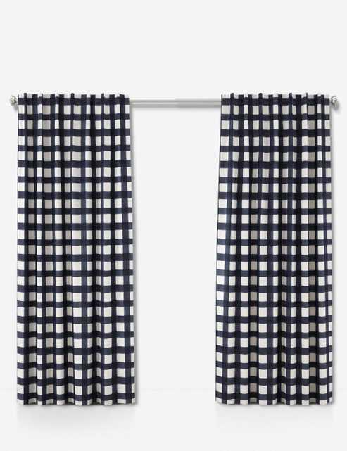 "Blue Buffalo Check Curtain Panel, 96"" x 50"" Blackout - Lulu and Georgia"