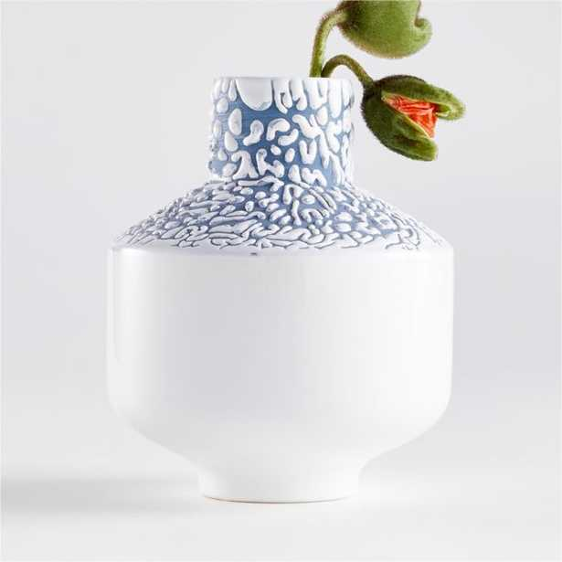 Danice White and Blue Small Ceramic Vase - Crate and Barrel