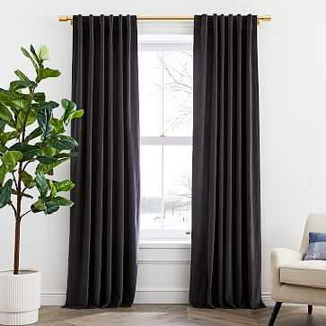 "Cotton Velvet Curtain, Slate, 48""x108"", Set of 2 - West Elm"