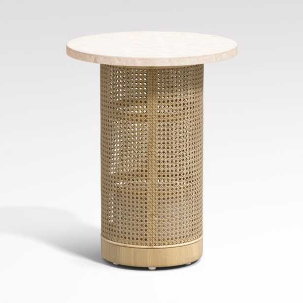 Vernet Travertine Cane End Table - Crate and Barrel