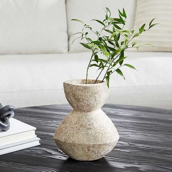 Ceramic Totem Vase, Grey, Small - West Elm