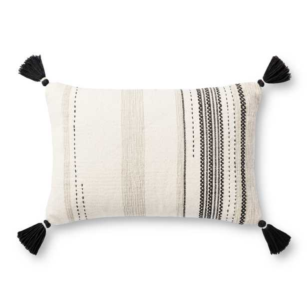 """PILLOWS P1151 NATURAL / BLACK 13"""" x 21"""" Cover w/Poly - Magnolia Home by Joana Gaines Crafted by Loloi Rugs"""