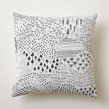 """Abstract Woodland Landscape Pillow Cover, 20""""x20"""", Slate - West Elm"""