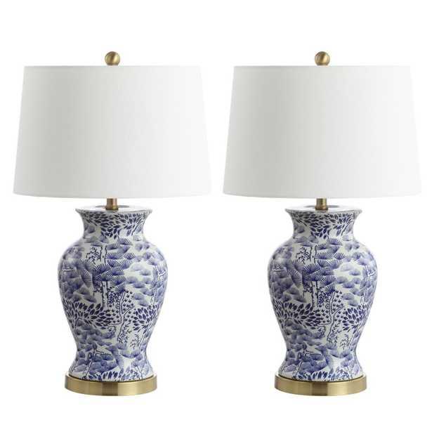 Safavieh Alona 27.5 in. Blue/White Table Lamp - Home Depot