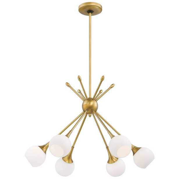 George Kovacs Pontil 6-Light Honey Gold Chandelier with Etched Opal Glass Shade - Home Depot