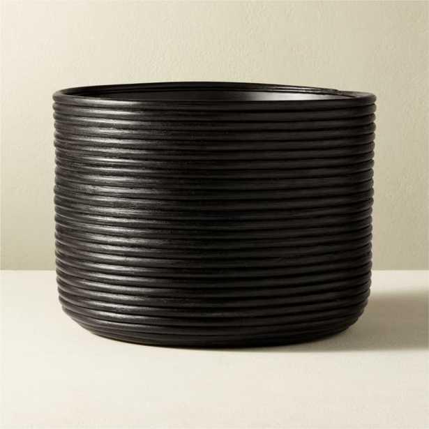 Basket Medium Black Rattan Planter - CB2