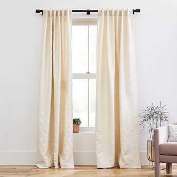 """Honeycomb Jacquard Curtain, Antique Beige, 48""""x96"""" - West Elm"""
