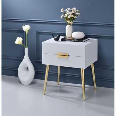 Midbury 2 - Drawer Iron Nightstand in White/Gold - Wayfair