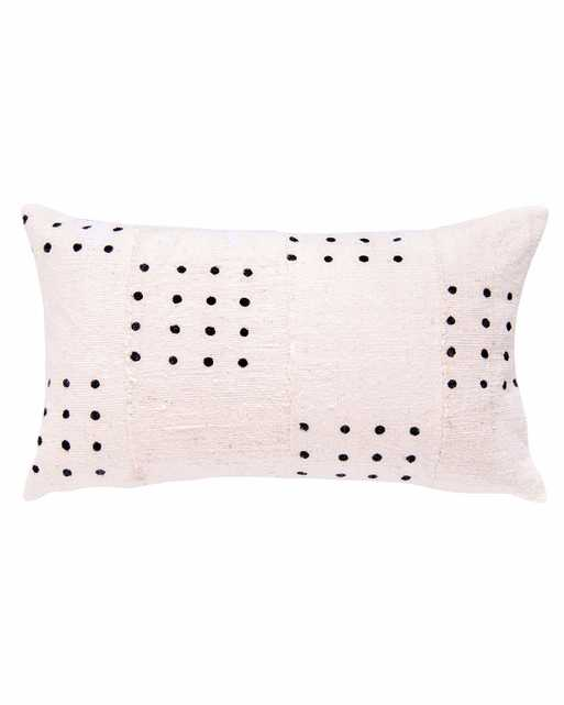 dotted mud cloth lumbar pillow in white - cover only - PillowPia