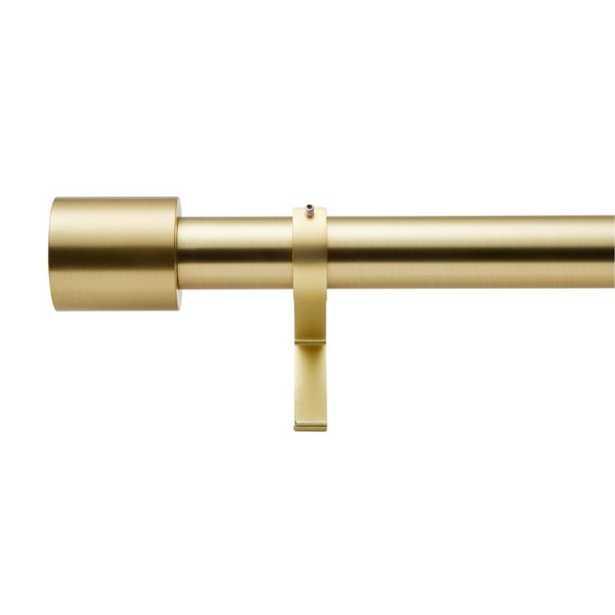 "Brushed Brass Cap Finial Curtain Rod Set 48""-88""x1.25""Dia. - CB2"
