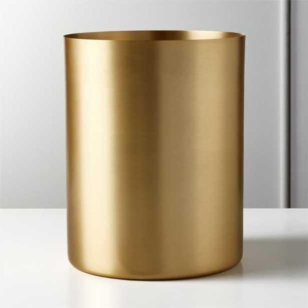 Elton Brushed Brass Waste Basket - CB2