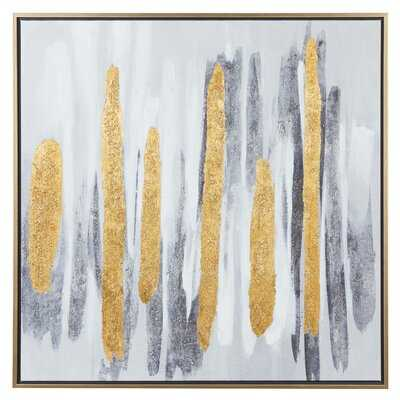 """Square Gold And Gray Brushed Stripe Abstract Canvas Wall Art With Gold Metal Frame, 40"""" X 40"""" - Floater Frame Painting on Canvas - Wayfair"""