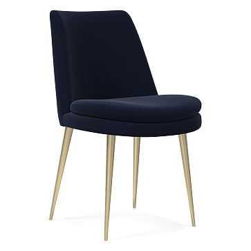 Finley Low Back Dining Chair,Individual, Performance Velvet, Ink Blue, Light Bronze - West Elm