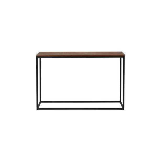 StyleWell Donnelly Rectangular Black Metal Console Table with Haze Wood Finish Top (48 in. W x 30 in. H), Black Metal/Haze Top - Home Depot