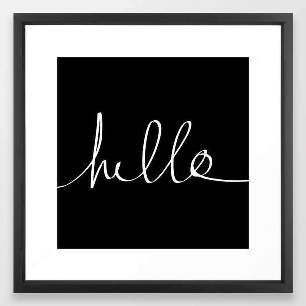 Hello Framed Art Print by Leah Flores - Vector Black - MEDIUM (Gallery)-22x22 - Society6