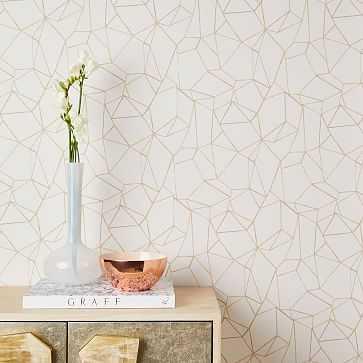Chasing Paper Geo Prisms Wallpaper, Neutral - West Elm