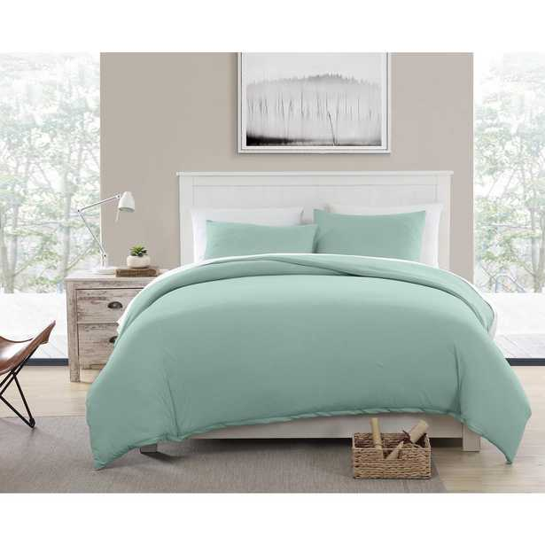 Morgan Home Fashions Eco-Friendly Recycled Cotton Blend T-shirt Jersey Teal Duvet and Sham Set, Full/Queen, Blue - Home Depot