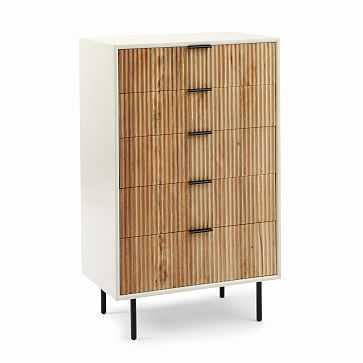 Quinn 5-Drawer Dresser, White and Rubberwood, Antique Bronze - West Elm