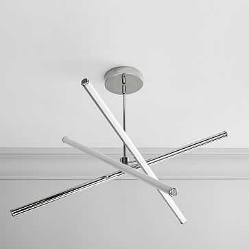 Lights Rods LED Chandelier, Small, Polished Nickel Canopy - West Elm