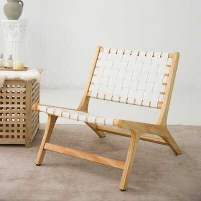 Mid-century Modern Leather Weave Woven Retro Accent Chair Armchair Wooden Lounge Chairs Safari Recliner, For Living Room(set Of 2) - Wayfair