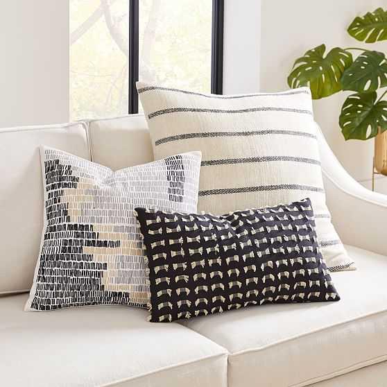 Cotton Silk Lines Pillow Cover Set, Set of 3 - West Elm