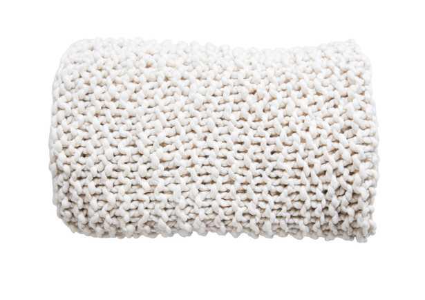 Acrylic Chunky Knit Throw, Cream - Moss & Wilder
