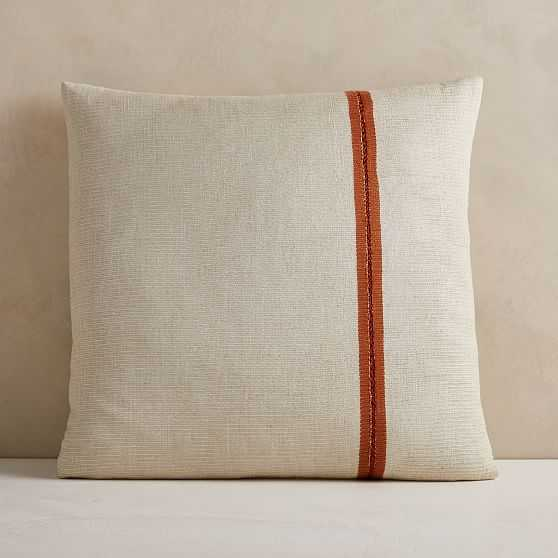 "Silk Mono Stripe Pillow Cover, 24""x24"", Natural - West Elm"