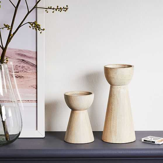 Pure Wood Pillar Holder, White, Small and Large, Set of 2 - West Elm