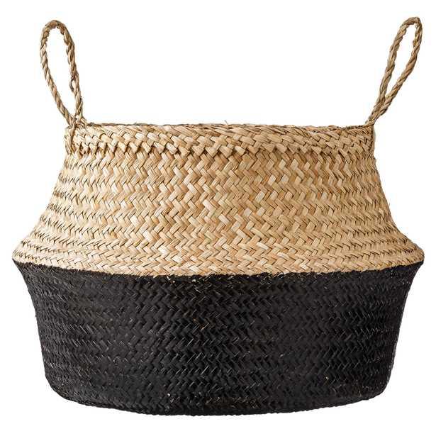 Large Black & Beige Seagrass Folding Basket with Handles - Moss & Wilder