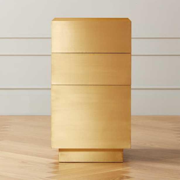 Penn Brass Clad Narrow 3 Drawer File Cabinet - CB2