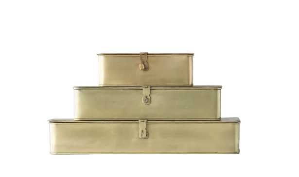 Decorative Metal Boxes with Gold Finish (Set of 3 Sizes) - Nomad Home