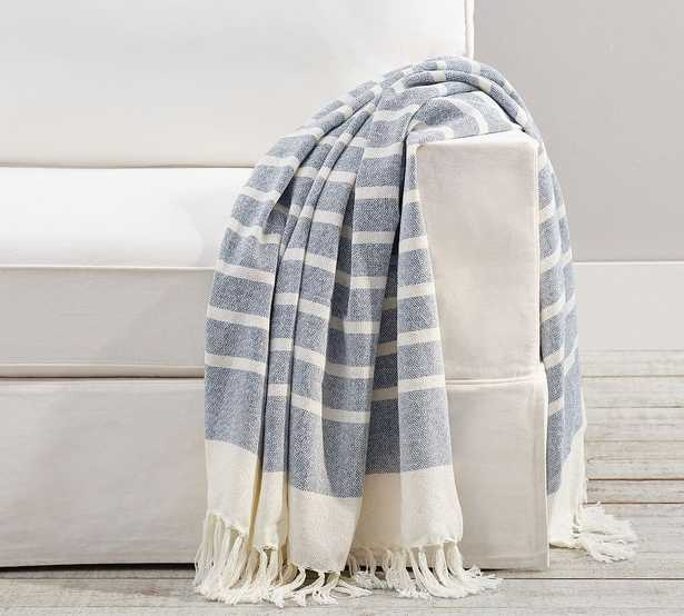 """Everywhere Striped Throw, 50 x 60"""", Chambray - Pottery Barn"""