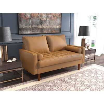 """Square Arm  57.87"""" Wide Faux Leather Loveseat Sofa - Wayfair"""