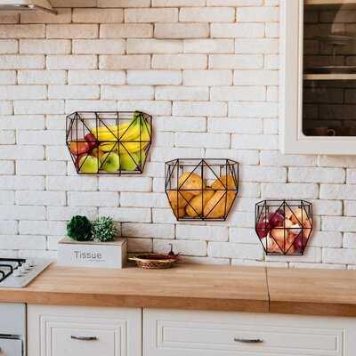 Hanging Fruit and Storage Organizer Wall 3 Piece Metal Basket Set - Wayfair