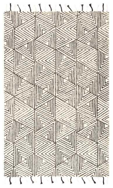 Nikki Chu by Montblanc Handmade Geometric Ivory/ Gray Area Rug (8'X10') - Collective Weavers