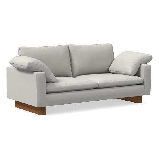 "Harmony Petite 76"" Sofa, Down Blend, Yarn Dyed Linen Weave, Frost Gray, Dark Walnut - West Elm"