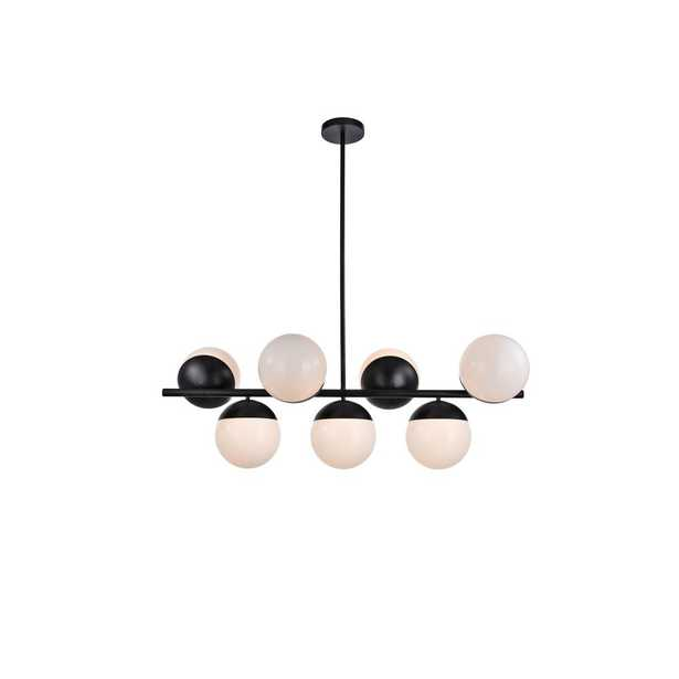 ELEGANT FURNITURE & LIGH Timeless Home Eden 7-Light Pendant in Black with 8 in. W x 7.5 in. H Frosted White Shade - Home Depot