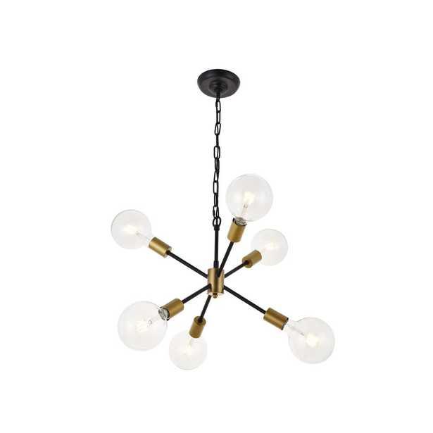 ELEGANT FURNITURE & LIGH Timeless Home Nathalie 6-Light Pendant in Matte Black 16 in. W x 13.2 in. H - Home Depot