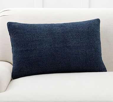 "Faye Textured Linen Pillow Cover, 16 x 26"", Midnight - Pottery Barn"