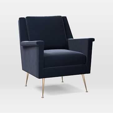 Carlo Mid-Century Chair, Astor Velvet, Ink Blue, Brass - West Elm