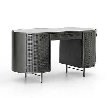 "Casoli 60"" Marble Top Desk, Gunmetal - Pottery Barn"