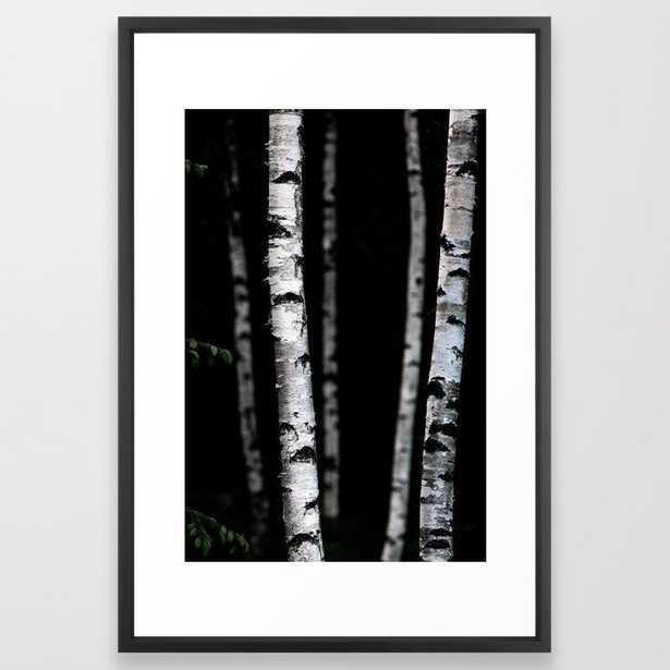 Birch Trees 5 Framed Art Print by Mareike BaPhmer - Vector Black - LARGE (Gallery)-26x38 - Society6